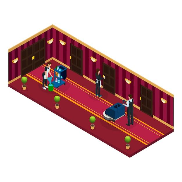 Koncepcja Usługi Sprzątania Izometrycznego Hotelu Darmowych Wektorów