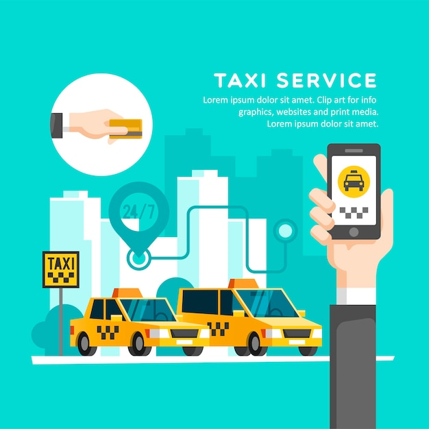 Koncepcja Usługi Taxi Premium Wektorów