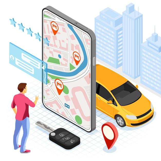 Koncepcja Usługi Udostępniania Samochodów. Mężczyzna Online Wybiera Samochód Do Współdzielenia Samochodów. Premium Wektorów