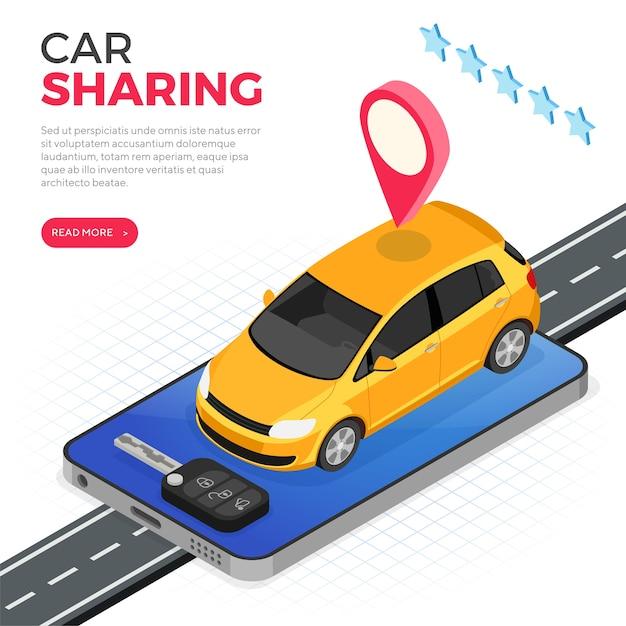 Koncepcja Usługi Udostępniania Samochodów. Premium Wektorów