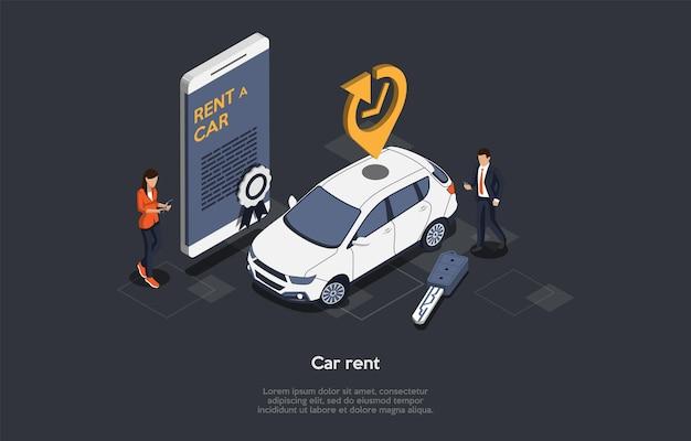 Koncepcja Usługi Wynajmu Samochodów Online. Klient Wypożyczył Samochód Na Podróż Służbową Lub Wakacje. Rezerwacja I Rezerwacja Pojazdu. Smartfon Z Nowoczesną Aplikacją Mobilną Do Wypożyczania Samochodów. Premium Wektorów