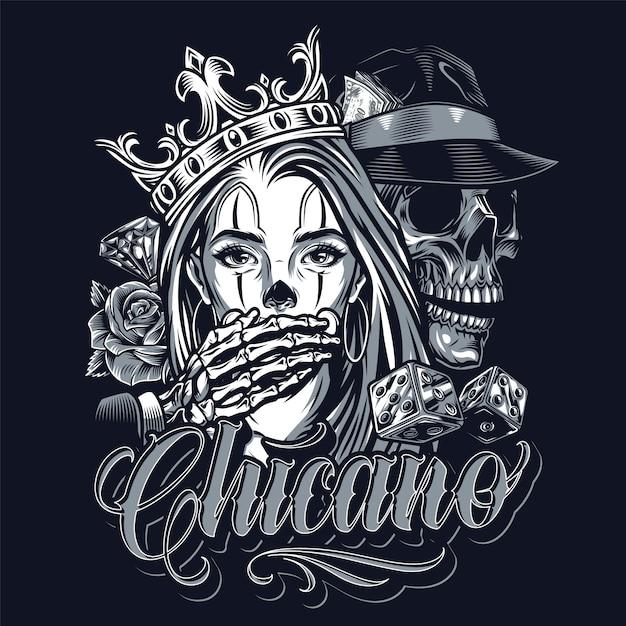 Koncepcja Vintage Tatuaż Monochromatyczny Chicano Darmowych Wektorów
