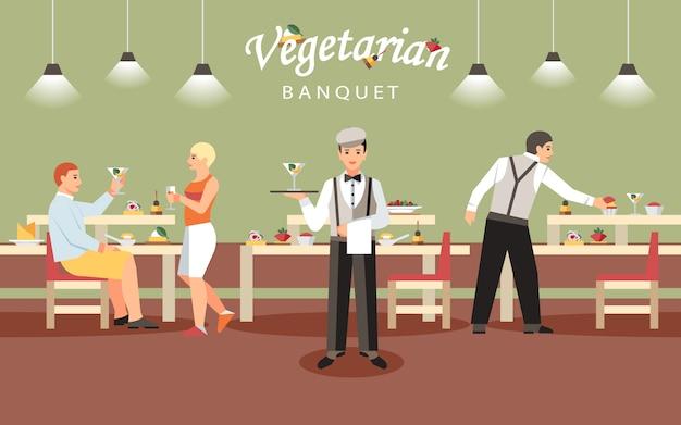 Koncepcja wegetariański bankiet. Premium Wektorów