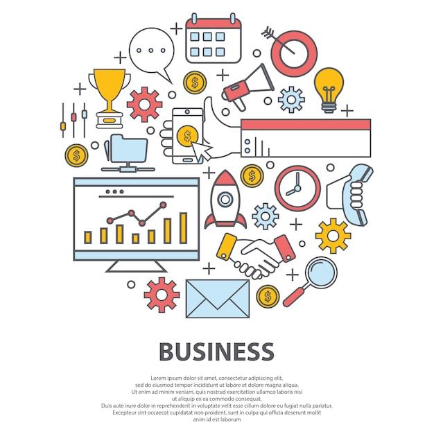 Koncepcja wektor centrum biznesu. do strony internetowej, projektowania nadruku, wizytówki Premium Wektorów