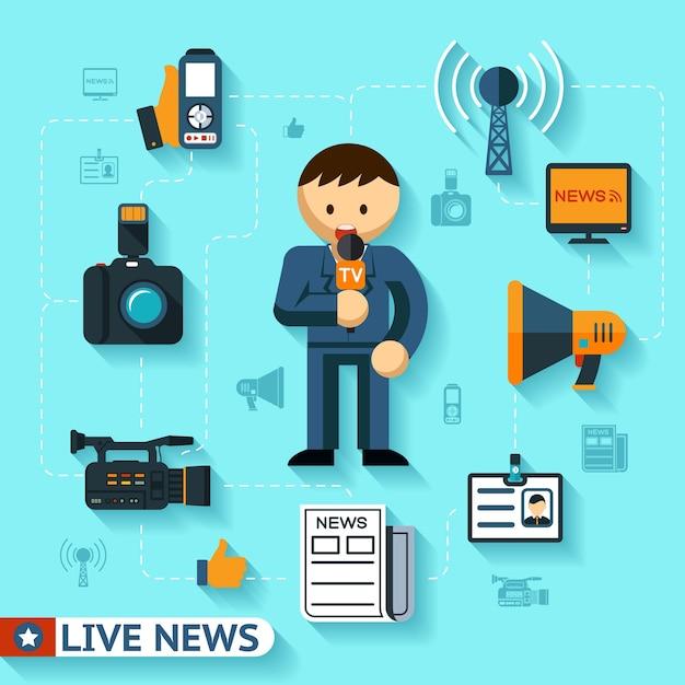 Koncepcja Wektor Wiadomości I środków Masowego Przekazu, Dziennikarz I Dziennikarstwo Płaskie Ikony Darmowych Wektorów