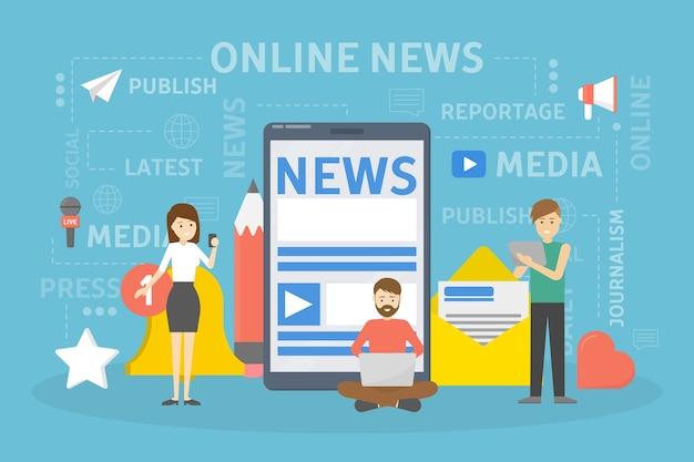 Koncepcja Wiadomości Online. Premium Wektorów