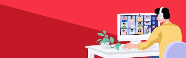 Koncepcja Wirtualnego Spotkania, Młody Człowiek O Wideokonferencji Ze Swoimi Kolegami W Domu. Premium Wektorów