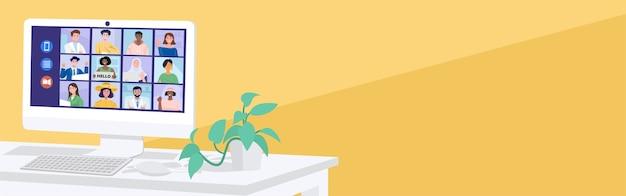 Koncepcja Wirtualnego Spotkania, Osoby Prowadzące Wideokonferencję Ze Swoimi Kolegami W Domu. Premium Wektorów