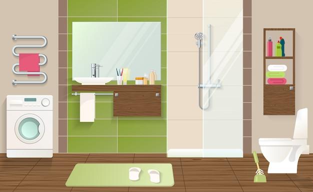 Koncepcja Wnętrza łazienki Darmowych Wektorów
