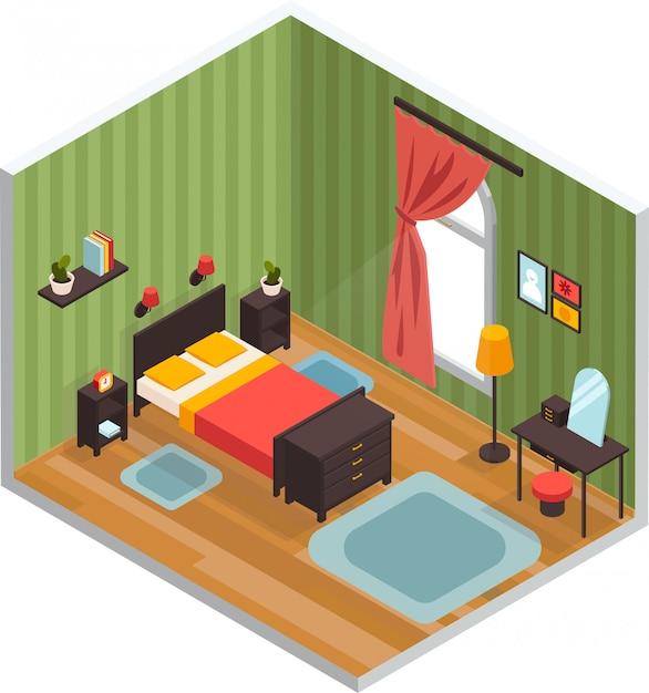 Koncepcja Wnętrza Sypialni Darmowych Wektorów