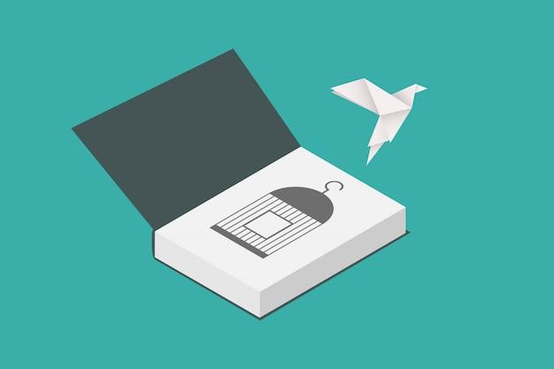 Koncepcja Wolności. Papierowy Ptak Wylatujący Z Książki. Płaska Konstrukcja Premium Wektorów