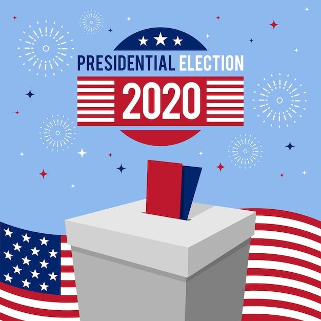 Koncepcja Wyborów Prezydenckich W Usa 2020 Z Fajerwerkami Premium Wektorów