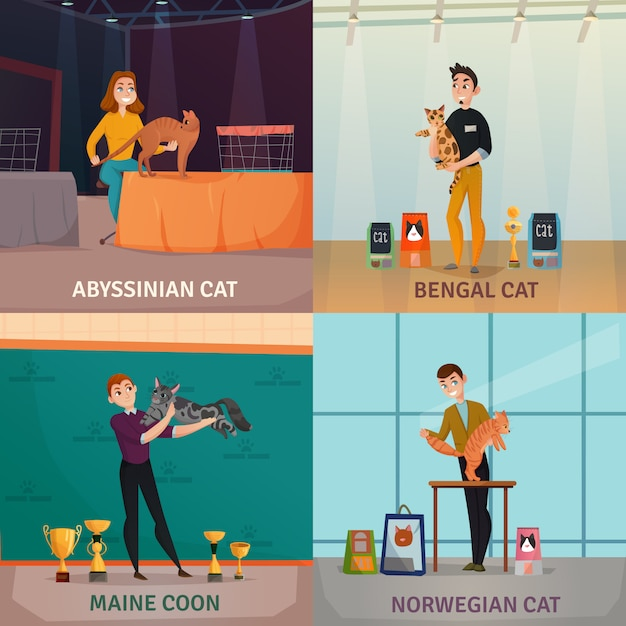 Koncepcja wystawy kotów Darmowych Wektorów