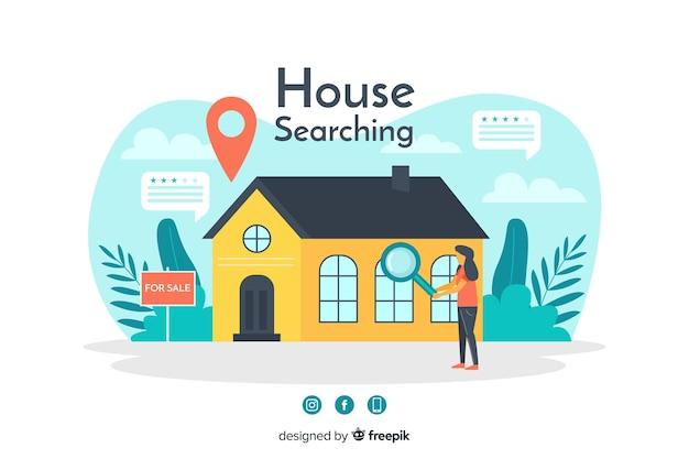 Koncepcja wyszukiwania domu dla strony docelowej Darmowych Wektorów