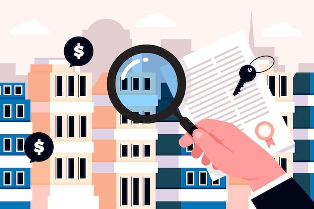 Koncepcja Wyszukiwania Nieruchomości Premium Wektorów