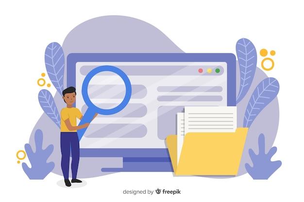 Koncepcja wyszukiwania plików dla strony docelowej Darmowych Wektorów