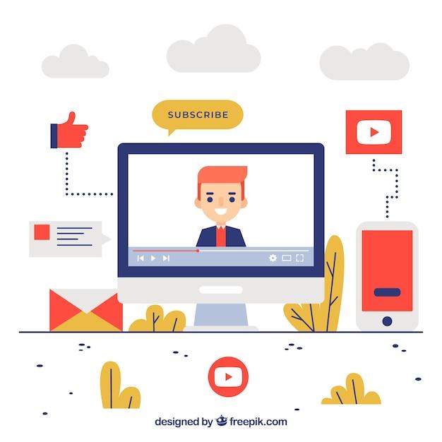 Koncepcja Youtube Premium Wektorów