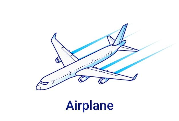 Koncepcja Z Nowoczesnym Samolotem Na Białym Tle Premium Wektorów