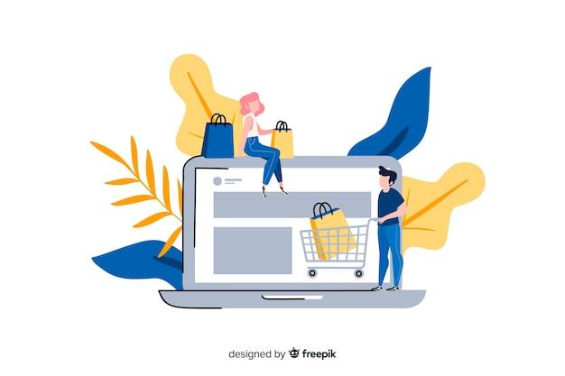 Koncepcja zakupów online dla strony docelowej Darmowych Wektorów
