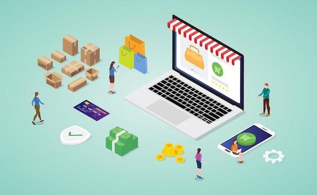 Koncepcja Zakupów Online Ze Sklepu Internetowego Laptopa W Nowoczesnym Stylu Izometrycznym Premium Wektorów