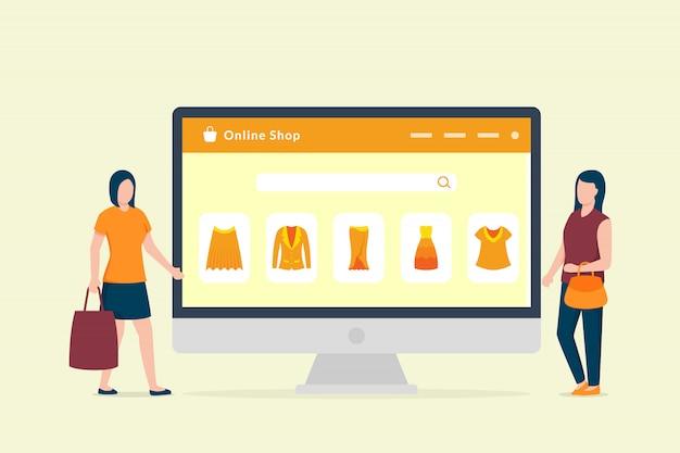 Koncepcja Zakupy Online Z Pulpitu Komputera I Ikona Zakupy E-commerce Z Dwiema Kobietami Premium Wektorów
