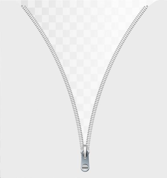 Koncepcja Zamka Jako Otwarty Metalowy Zapięcie Na Odzieży Lub Tkaninie Odzieżowej Jako Symbol Ujawnienia Wiadomości Lub Odkrycia Na Białym Tle Na Białym Tle. Premium Wektorów