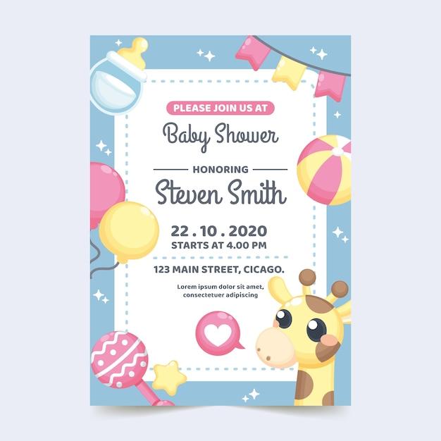 Koncepcja Zaproszenia Baby Shower Darmowych Wektorów
