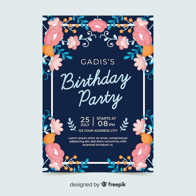 Koncepcja Zaproszenie Na Urodziny Kwiatowy Darmowych Wektorów