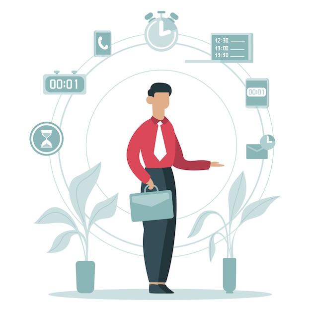 Koncepcja Zarządzania Czasem. Biznesmen Planowania Zadań W Pracy, Harmonogram, Pracownik Biznesu Otoczony Czas Ikony Ilustracja. Harmonogram Biznesowy, Praca Na Czas Premium Wektorów