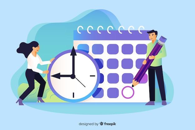 Koncepcja zarządzania czasem dla strony docelowej Darmowych Wektorów
