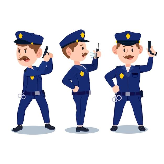 Koncepcja Zbiórki Policji Premium Wektorów