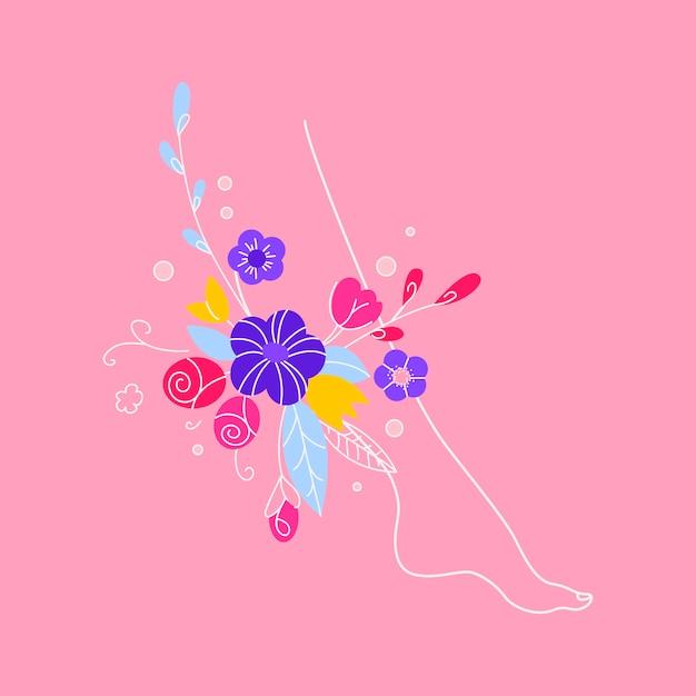 Koncepcja Zdrowia Kobiet. Koncepcja Leczenia żylaków, Zdrowych Kobiecych Nóg, Koncepcja Sztandaru Depilacji, Osłodzenia. Ilustracja Kobiet Nogi Z Kwiatami I Liśćmi. Premium Wektorów