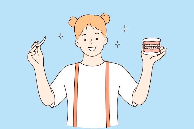 Koncepcja Zdrowia Zębów I Usług Stomatologicznych Premium Wektorów