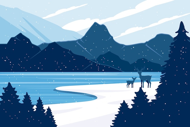 Koncepcja Zimowy Krajobraz W Płaskiej Konstrukcji Darmowych Wektorów