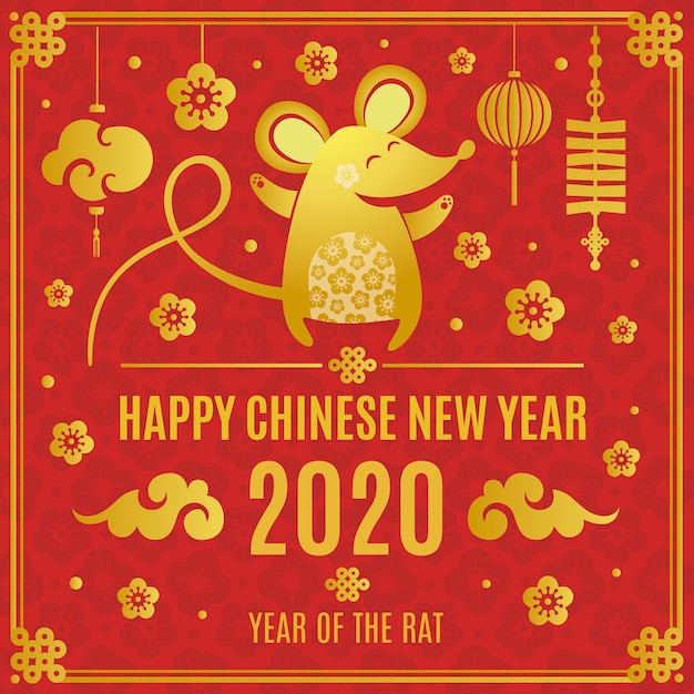 Koncepcja złoty chiński nowy rok Darmowych Wektorów