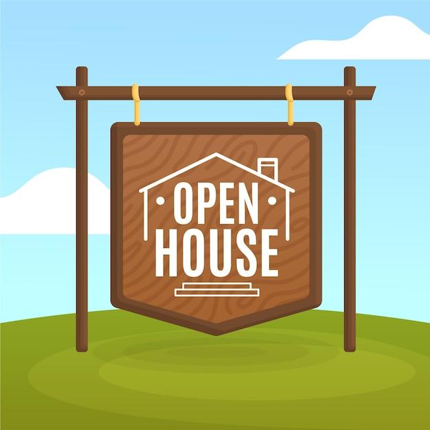 Koncepcja Znak Otwarty Dom Nieruchomości Darmowych Wektorów