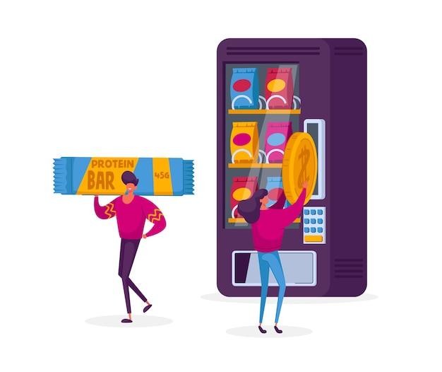 Koncepcja żywności Automat Do Sprzedaży. Premium Wektorów