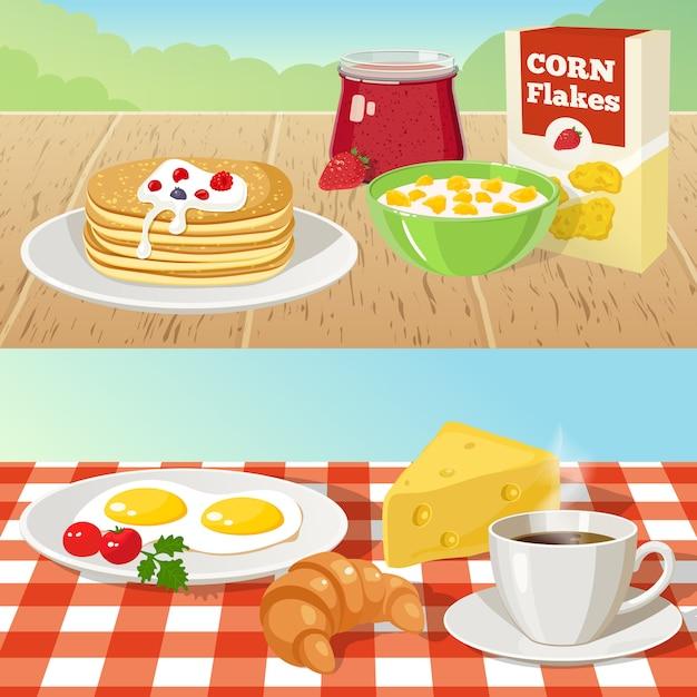 Koncepcje śniadaniowe Na świeżym Powietrzu Darmowych Wektorów