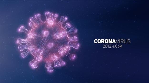 Koncepcyjna Ilustracja Koronawirusa. 3d Wirusa Forma Na Abstrakcjonistycznym Tle. Wizualizacja Patogenu. Darmowych Wektorów