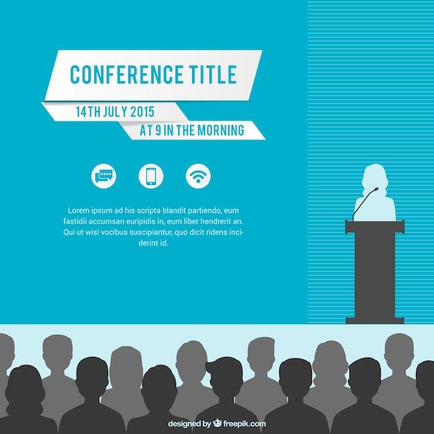 Konferencja Plakat Szablon Premium Wektorów