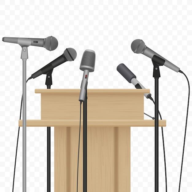 Konferencja prasowa głośnikowa trybuna podium Premium Wektorów
