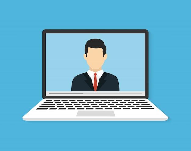 Konferencje Lub Szkolenia Online. Ilustracja Do Nauki Online Lub Seminarium Internetowe. Ilustracja Wektorowa Płaskie Premium Wektorów
