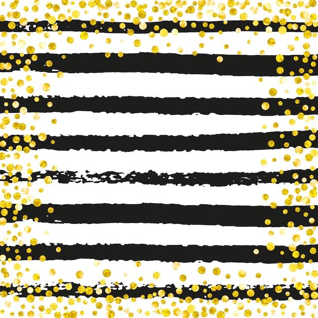 Konfetti Złoty Brokat W Kropki Premium Wektorów
