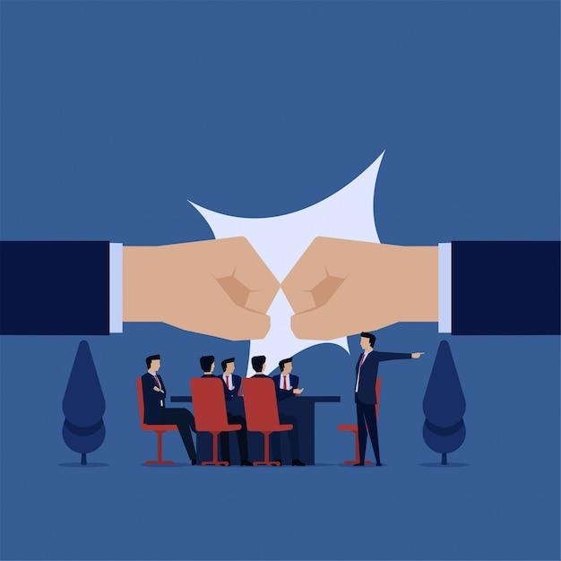 Konfrontacja zespołu biznes płaski wektor koncepcja na spotkanie biurowe. Premium Wektorów