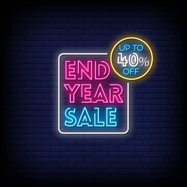 Koniec Roku Sprzedaż Neony Styl Tekstu Premium Wektorów