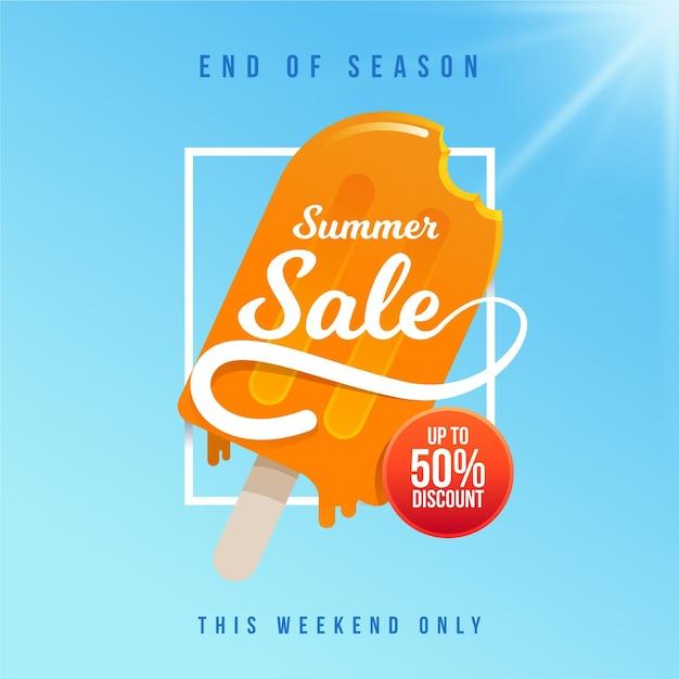 Koniec Sezonu Letniej Sprzedaży Banner Z Lodami Darmowych Wektorów