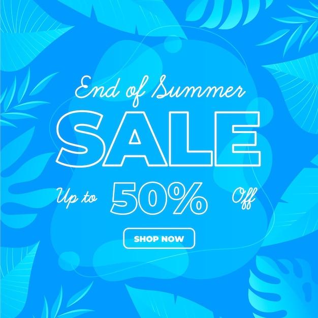 Koniec Sezonu Letniej Sprzedaży Transparent Z Tropikalnymi Liśćmi Darmowych Wektorów