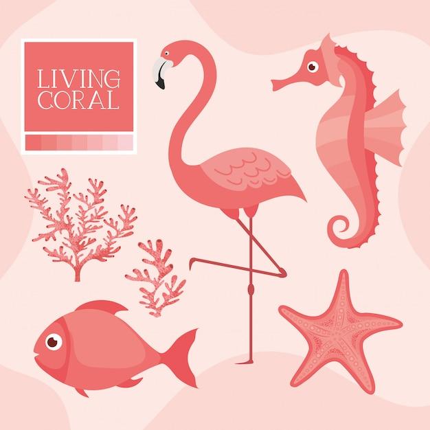 Koniki morskie, flamingi, ryby, rozgwiazdy w żywym stylu koralowym Premium Wektorów