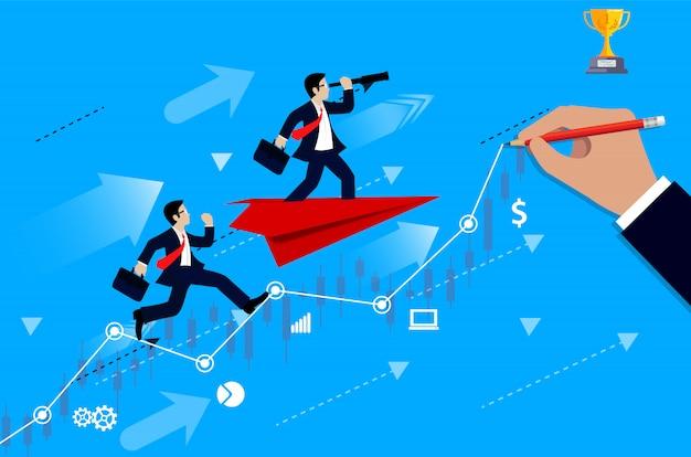 Konkurencja Biznesmenów Na Wykresie Od Linii Do Celu, Aby Osiągnąć Sukces Lidera Premium Wektorów