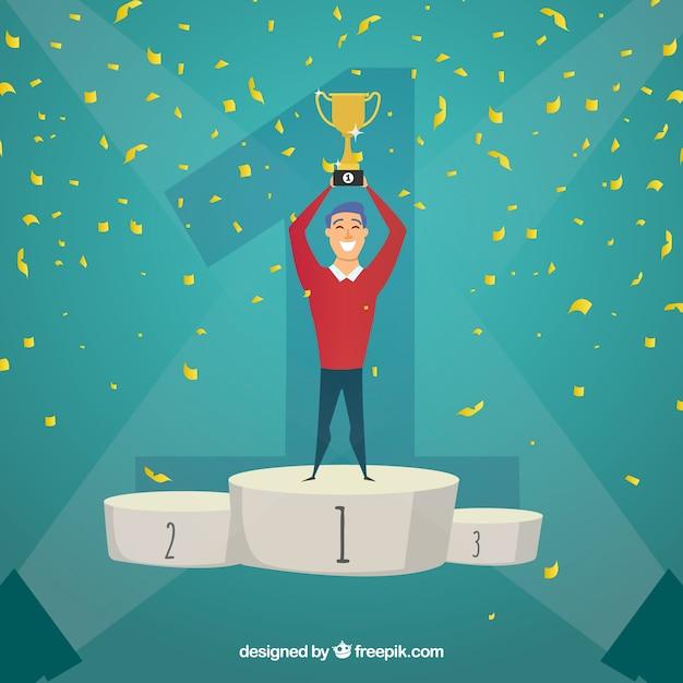 Konkurs zwycięzca tło z trofeum i konfetti Darmowych Wektorów